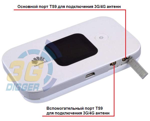 Разъемы TS9 для MIMO антенн в Huawei E5577s-321