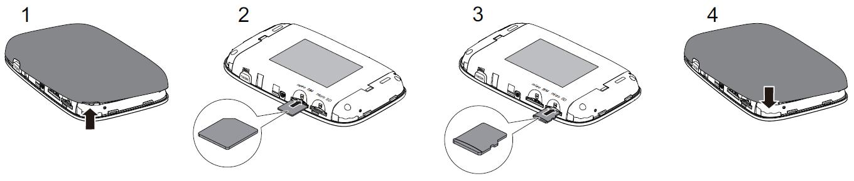 Пример установки карты памяти и sim карты в Huawei E5786s
