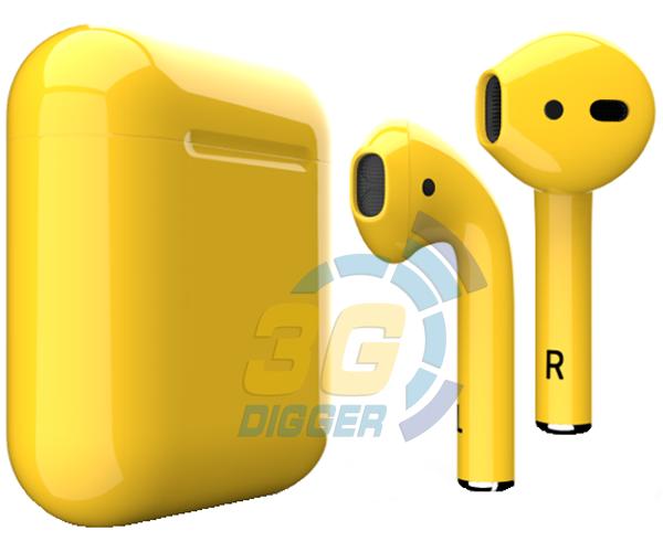 Наушники Apple AirPods Yellow с глянцевым покрытием