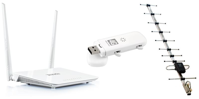 Комплект для дачи - стационарный WiFi роутер, USB модем и антенна